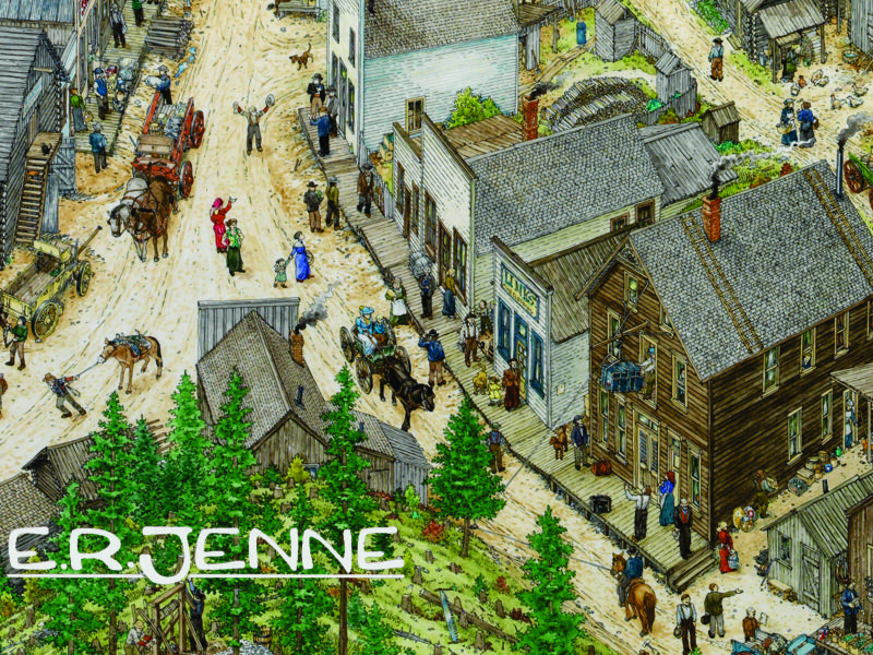 "Commissioned by the BLM, this illustration of Garnet  recreates the structures and activities of the mining town in it's heyday in about 1910.   Garnet ""ghost town"" is a popular destination for visitors to western Montana each summer."