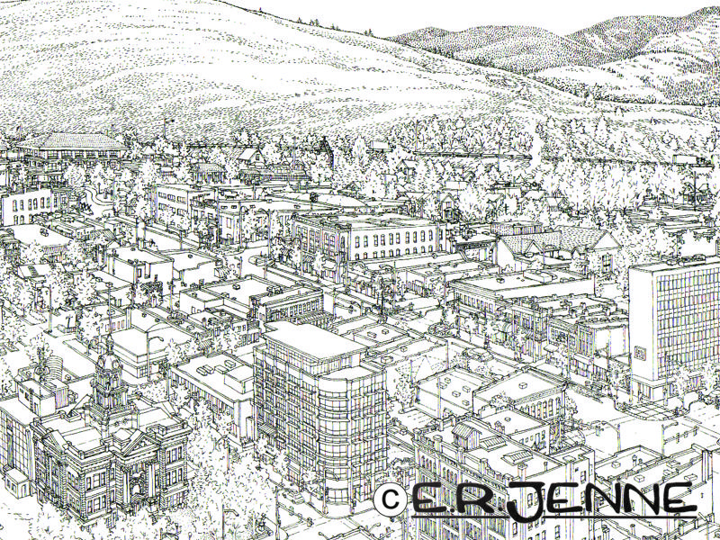 """This """"birds eye"""" view of downtown Missoula is carefully designed to show the distinctive and varied architecture of the town."""