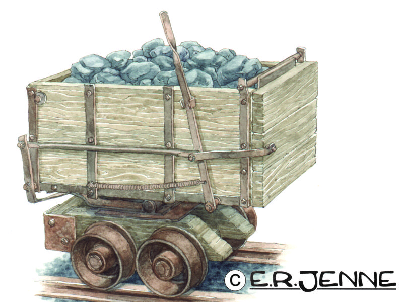 An illustration of a miner's ore cart for Garnet Ghost Town.
