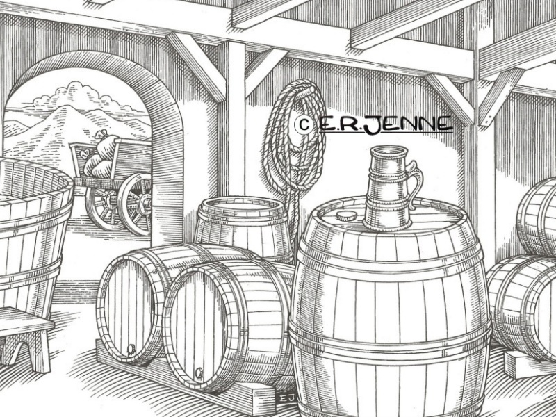 An illustration evoking a medieval brewery used as a background in Bayern Brewing  beverage labels and packaging.