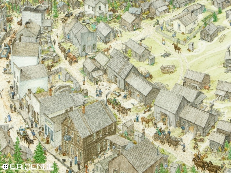 """This overhead view has been carefully researched and meticulously constructed to depict how Garnet, a """"ghost town"""" in western Montana would have looked in it's heyday of about 1910.  This illustration was commissioned by the BLM."""