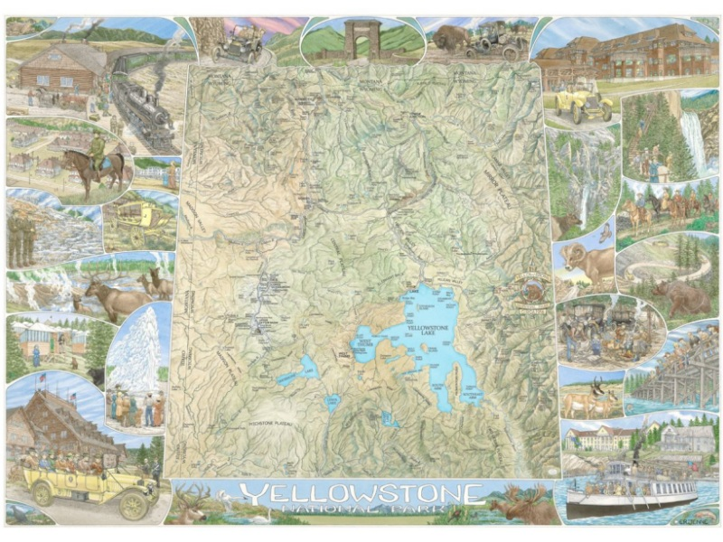 This Yellowstone National Park illustrated map focuses on the history of the area.  The map image is surrounded by depictions of the wildlife, landscape features, visitors and historic structures of the Park.  A high quality print is available.