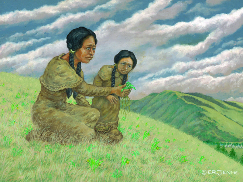 A mother and daughter forage for edible plants.